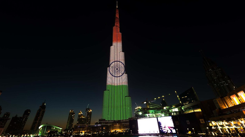 Burj Khalifa In Color's Of Indian Flag